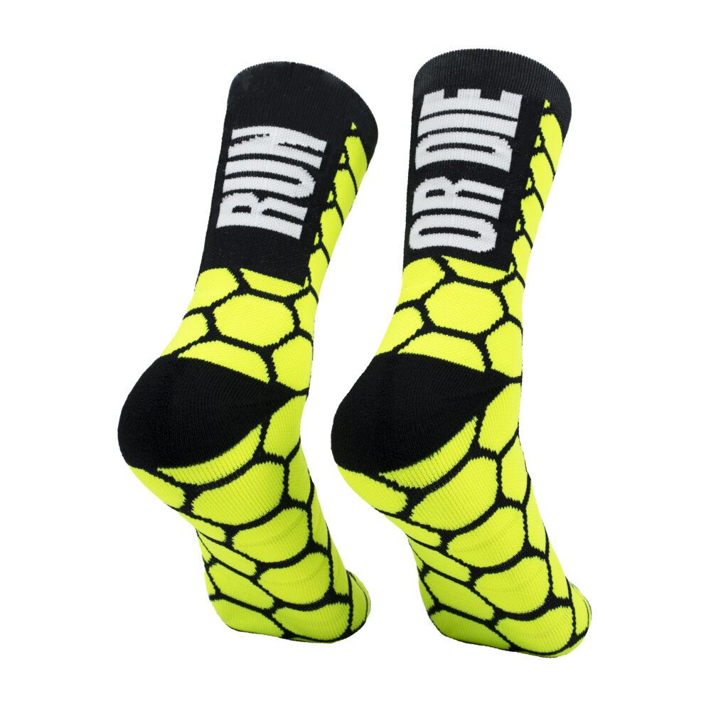 Calcetas para correr amarillo run or die